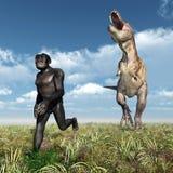 Tyrannosaurus Rex attacks Homo Habilis Stock Images