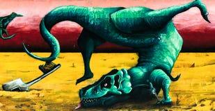 Tyrannosaurus rex is dancing stock images
