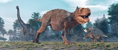 Tyrannosaurus Rex in de Wildernis royalty-vrije illustratie