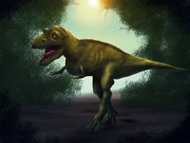 Tyrannosaurus Rex Digital Painting. Illustration of a ferocious t-rex hunting in a forest Stock Photography