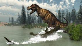 Tyrannosaurus rex dinosaur attacked by deinosuchus Stock Photo