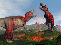 Tyrannosaurus rex dinosaur fight - 3D render. Two tyrannosaurus rex dinosaurs fighting to blood in nature Stock Photo