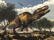 Tyrannosaurus rex dinosaur protecting its eggs - Stock Image