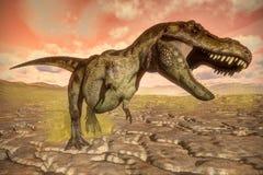 Tyrannosaurus rex dinosaur roaring - 3D render Stock Photo