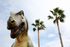 Tyrannosaurus rex dinosaur. And sky background Royalty Free Stock Photography