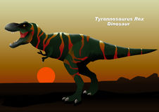 Tyrannosaurus Rex Dinosaur walking at sunset Royalty Free Stock Photo