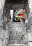 Tyrannosaurus Rex escape. A conceptual image of a fierce and dangerous Tyrannosaurus Rex monster coming out of an ancient stone temple gateway royalty free stock photos