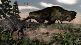 Tyrannosaurus rex roaring at a triceratops - 3D Stock Photography