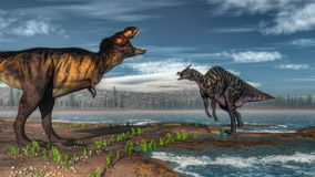Tyrannosaurus rex and saurolophus dinosaurs - 3D Royalty Free Stock Photo