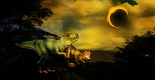 Tyrannosaurus Rex Solar Eclipse. Two Tyrannosaurus Rex dinosaurs in fantasy setting with solar eclipse. Tyrannosaurus rex was one of the largest meat-eating Stock Photography