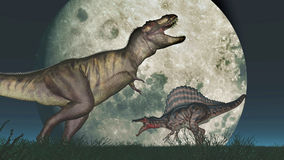 Tyrannosaurus Rex and Spinosaurus in front of the moon. Computer generated 3D illustration with the dinosaurs Tyrannosaurus Rex and Spinosaurus in front of the Royalty Free Stock Image