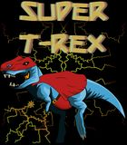 Tyrannosaurus rex superman with background vector vector illustration