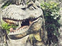 Tyrannosaurus Rex, t-REX Digitaal Art Impasto Oil Painting Abstr stock afbeeldingen