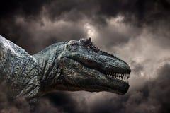 Tyrannosaurus rex w burzy Obrazy Royalty Free