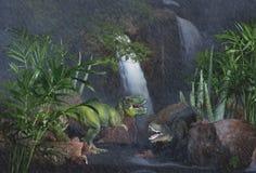 Tyrannosaurus Rex w deszczu Zdjęcia Royalty Free