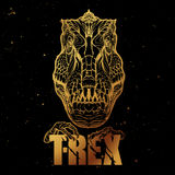 Tyrannosaurus roaring head with t-rex sign. Golden on black. Royalty Free Stock Images