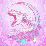 Tyrannosaurus roaring with moon and roses frame. Detailed sketch style drawing of the roaring tyrannosaurus rex on Kawaii Moon and roses frame. Tattoo design Stock Photography