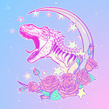 Tyrannosaurus roaring with moon and roses frame. Detailed sketch style drawing of the roaring tyrannosaurus rex on Kawaii Moon and roses frame. Tattoo design Royalty Free Stock Images