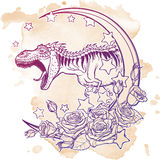 Tyrannosaurus roaring with moon and roses frame  on grunge background Stock Images