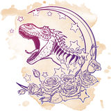 Tyrannosaurus roaring with moon and roses frame  on grunge background Stock Image
