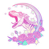 Tyrannosaurus roaring with moon and roses frame  on white Royalty Free Stock Image