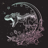 Tyrannosaurus roaring sketch on nightsky background. Detailed sketch style drawing of the roaring tyrannosaurus rex on a Moon and roses frame. Tattoo design Royalty Free Stock Photo