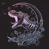 Tyrannosaurus roaring sketch on nightsky background. Detailed sketch style drawing of the roaring tyrannosaurus rex on a Moon and roses frame. Tattoo design Royalty Free Stock Image