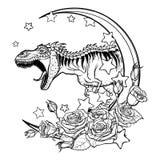 Tyrannosaurus roaring sketch on White background Stock Image