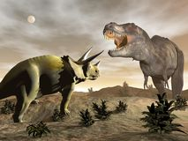 Tyrannosaurus roaring at triceratops - 3D render Stock Photos