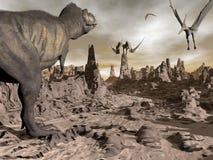 Tyrannosaurus running to pteranodons - 3D render Stock Photos