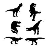 Tyrannosaurus set vector. Tyrannosaurus set of black silhouettes. Icons and illustrations of animals. Wild animals pattern royalty free illustration