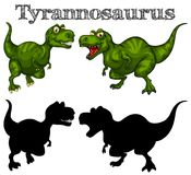 Tyrannosaurus and silhouette on white background Royalty Free Stock Images