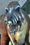 Tyrannosaurus Statue. A life size mechanized tyrannosaurus dinosaur statue model on display Stock Photos