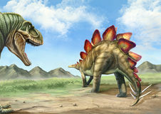 Tyrannosaurus and stegosaurus. A ferocious tyrannosaurus stared at a stegosaurus Royalty Free Stock Images