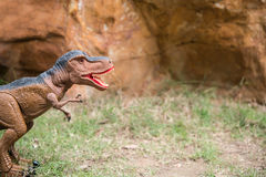Tyrannosaurus toy in front of mountain. Tyrannosaurus toy in front of rock mountain Royalty Free Stock Photography