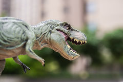 Tyrannosaurus toy in front of trees and morden building. Tyrannosaurus toy in front of trees and a morden building Royalty Free Stock Image
