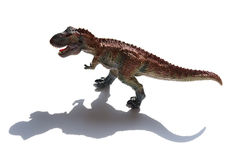 Tyrannosaurus toy with shadow. On a white background Royalty Free Stock Photography