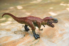 Tyrannosaurus toy. Stands on rock Royalty Free Stock Photos