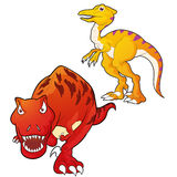 Tyrannosaurus-velociraptor. Cute Dinosaurs  cartoon tyrannosaurus and velociraptor actions Stock Images