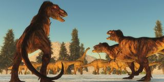 Tyrannosaurusaanval Royalty-vrije Stock Foto