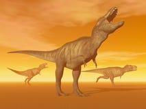Tyrannosaurusdinosaurussen in de 3D woestijn - geef terug Stock Foto's