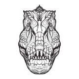 Tyrannosauruskopf auf weißem Hintergrund lizenzfreie abbildung