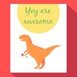 Tyrannosauruspostkarte Lizenzfreies Stockfoto