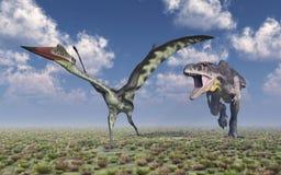 Tyrannotitan attacks Quetzalcoatlus Stock Photography