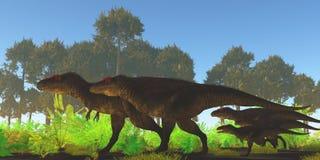 Tyrannotitan dinosauriejakt vektor illustrationer