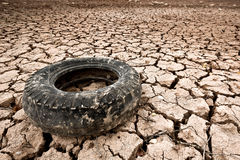 Tyre. An old tyre in a desert zone in Navarra, Spain Stock Photo