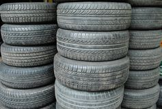 Tyre. Stack of used tires. Dirty tires.Pile of tires. Black tire Royalty Free Stock Photography