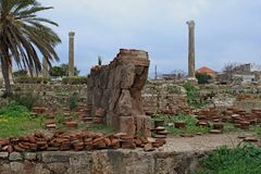 Remains of ancient roman columns in Tyre royalty free stock photo