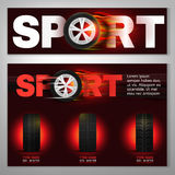 Tyre Banner Image. Vector burning tyre poster and banner. Modern idea for the landscape automotive flyer, banner, brochure and leaflet design. Editable graphic Royalty Free Stock Photos