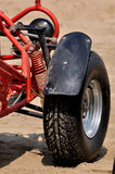 Tyre of beach sand motorcycle. A motorcycle on beach sand with powerful tyre, shown as beach sand sport and entertainment, or featured vehicle Royalty Free Stock Photos